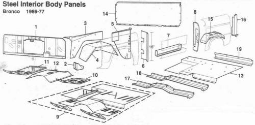 Classic Bronco Replacement Body Parts - Steel Inner Body Panels 1-20