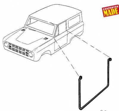 66-77 Classic Bronco - Classic Bronco Replacement Body Parts - Door Seals - Premium Lower - on Body 1966 - 77