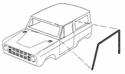 66-77 Classic Bronco - Classic Bronco Replacement Body Parts - Door Seals Upper - on Body 1966 - 77