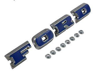 Parts for Ford - Ford Exterior - Ford Grille Letters - Chrome w/ Blue Inlay
