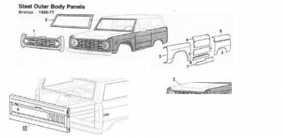 66-77 Classic Bronco - Classic Bronco Replacement Body Parts - Steel Outer Body Panels 1-11